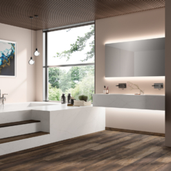 Picture of a Bathroom with Etude LG Viatera Countertops