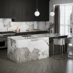 Khalo Dekton Kitchen Countertops with Waterfall Island and Backsplash