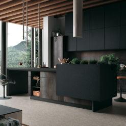 Nero Granite Infinity Porcelain Kitchen Island Countertops and Walls