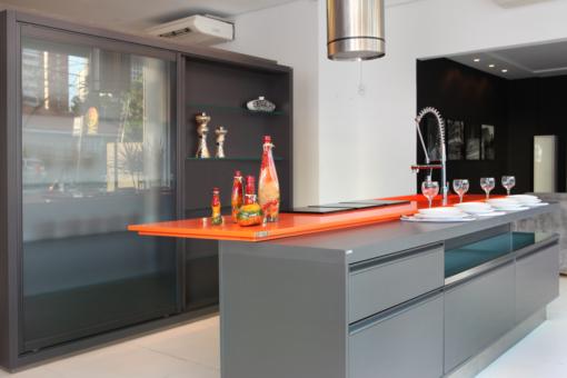 Orange Cool Silestone Quartz Kitchen