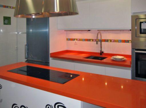 Orange Cool Silestone Quartz Kitchen2
