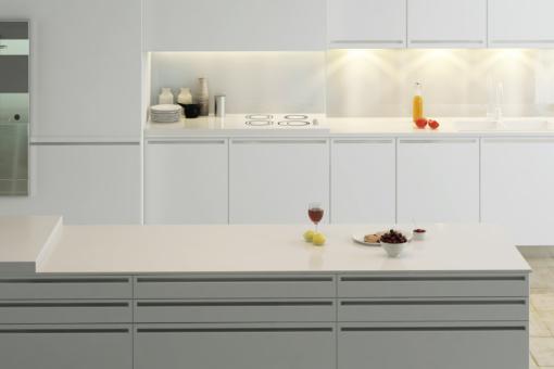 Porcelain White LG Viatera Quartz Kitchen