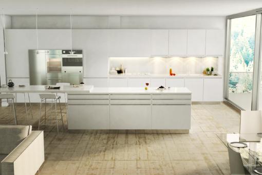Porcelain White LG Viatera Quartz Kitchen Countertops