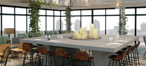 Raw Concrete Caesarstone Quartz Kitchen Island Countertops