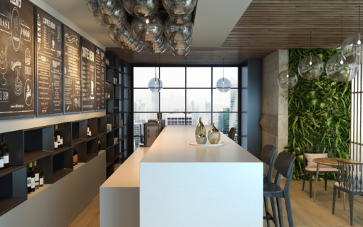 Snow Storm LG Viatera Quartz Kitchen Island Countertops