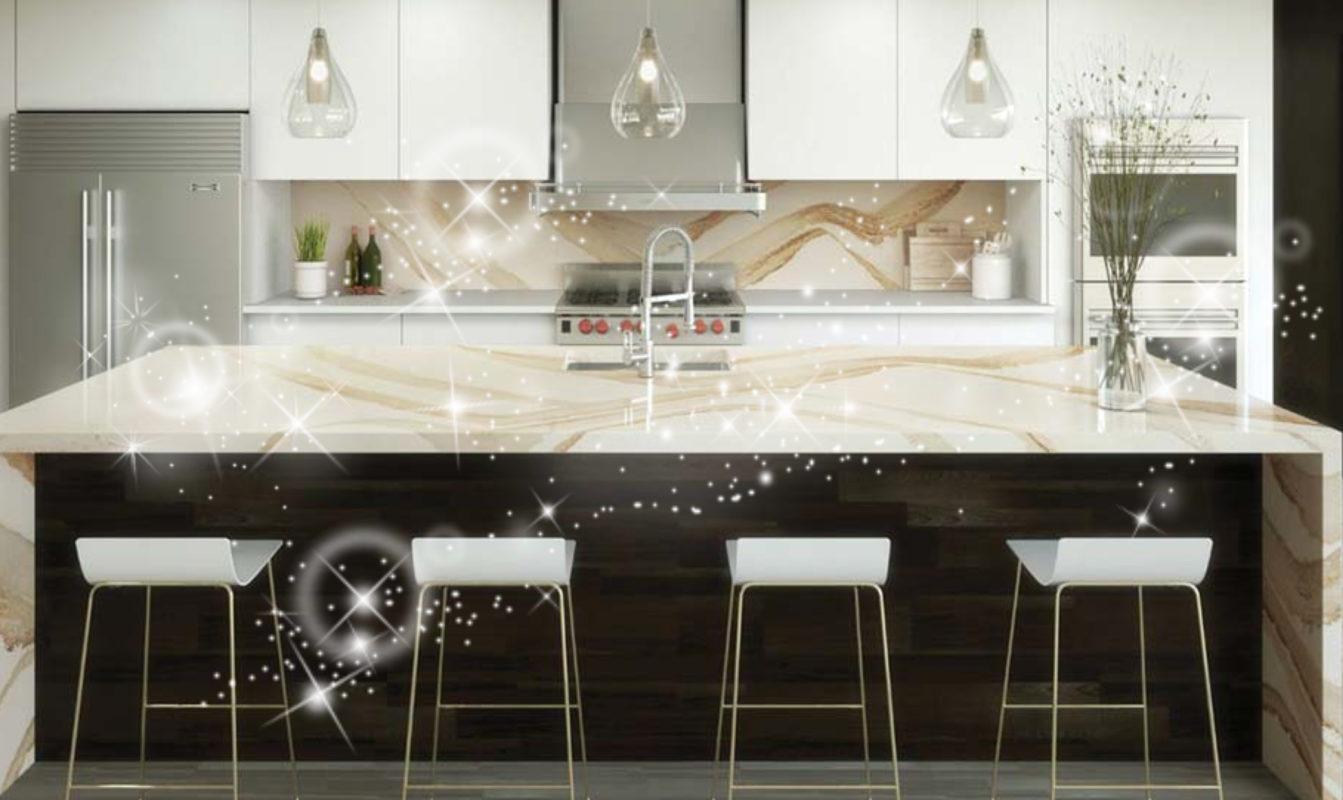 Sparkling New Cambria Quartz Brittanicca Gold Kitchen