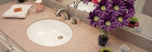 Stellar Rose Silestone Quartz Bathroom