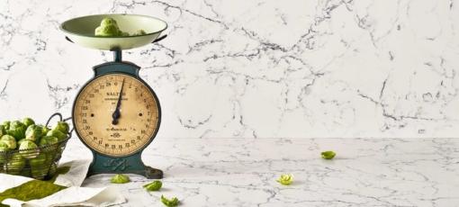 White Attica Caesarstone Quartz Kitchen Countertops
