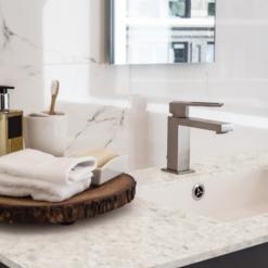 White Pearl LG Viatera Quartz Bathroom