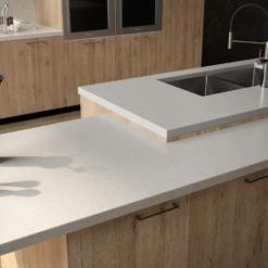 White Pearl LG Viatera Quartz Kitchen Countertops
