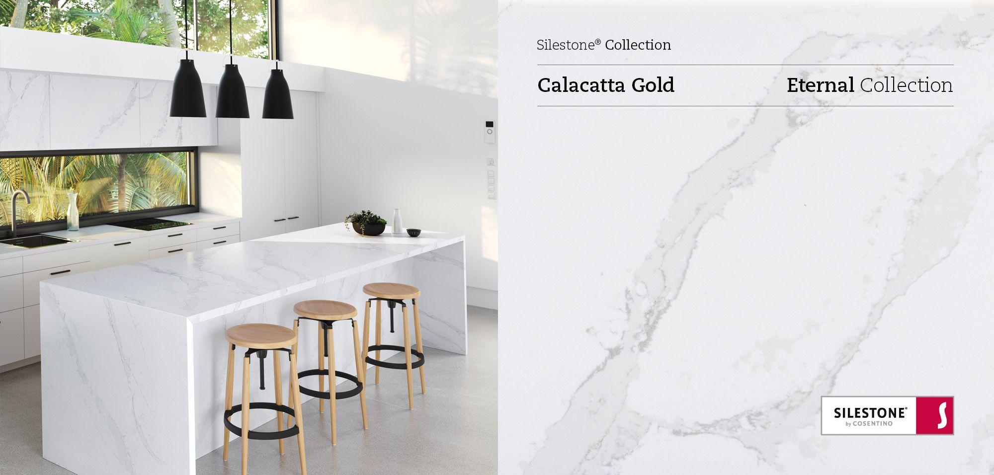 Silestone Calacatta Gold Countertops Installed and Close Up Picture Silestone vs Granite
